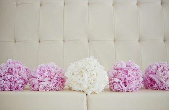 Bride & Bridesmaids' Peony Bouquets via Southern Weddings Magazine