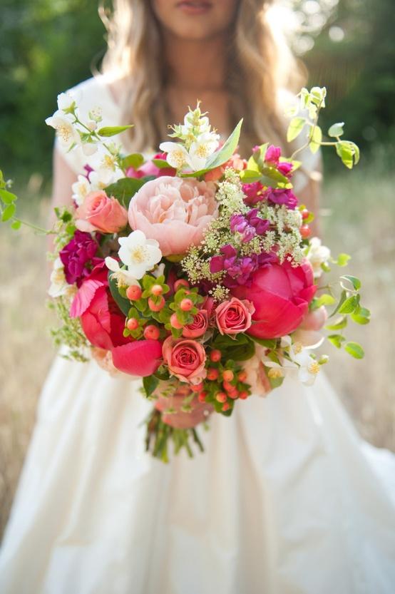 Wildflowers, Berries, Peonies & Roses via Style Me Pretty
